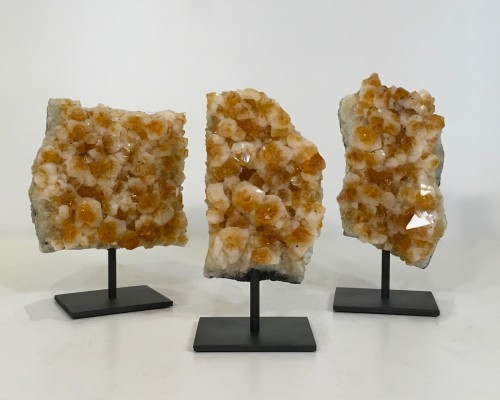 "Pieces Of ""honeycomb"" Mineral On Metal Stands"