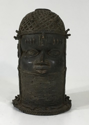 bronze benin metal decorative head