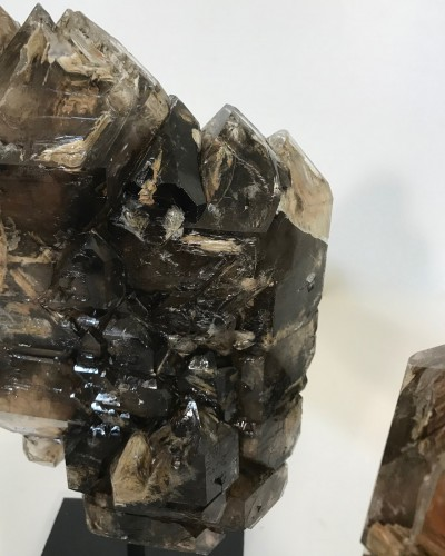 pieces of rare alligator quartz with black minerals on iron stands