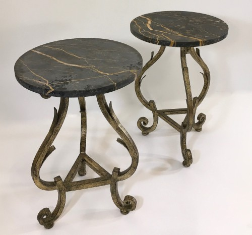 Pair of small 'Gilbert' side tables 1940's style with Michaelangelo marble tops.