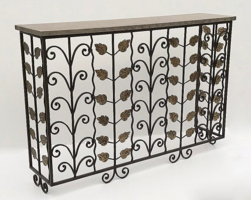 """Italian"" wrought iron console in brown gold bronze finish with stone top"