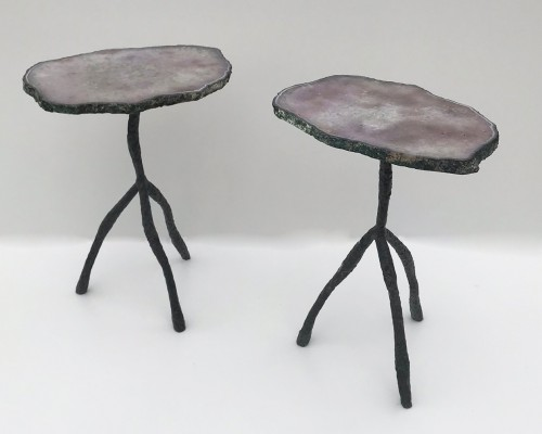 Pair Of 'purple' Agate Side Tables With Textured Wrought Iron Bases