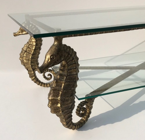 wrought iron seahorse table in distressed gold finish