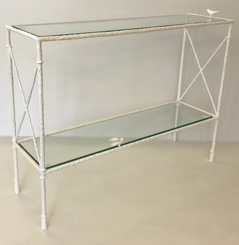 Textured wrought iron small two tier console table with glass top finished in plaster white