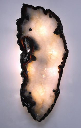 pair of massive and beautiful agate wall lights with 6 x 25W bulbs