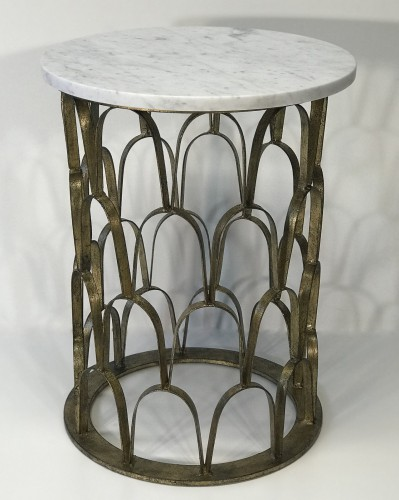 'Fish scale' wrought iron side table in distressed gold leaf finish with white and grey marble top