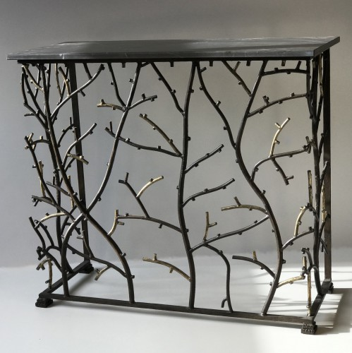 small iron coral console with marble top