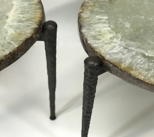 Pair Of Very Large Beautiful Agate Side Tables With Textured Wrought Iron Bases.