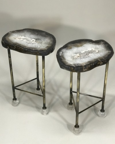 Pair of browny agate side tables with antique brass bases and rock crystal ball feet