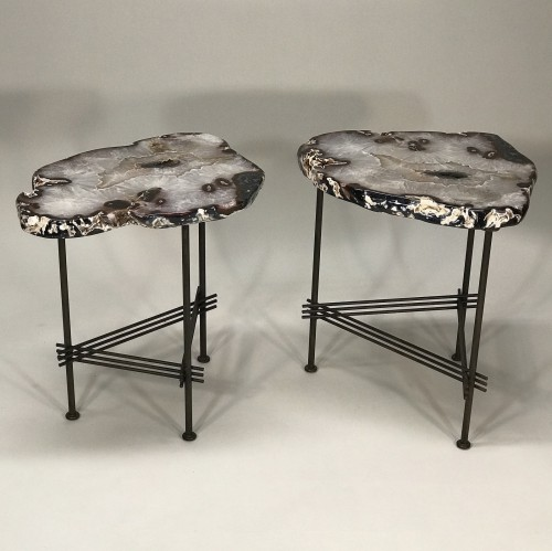 Pair of beautiful agate side tables on simple stretcher base