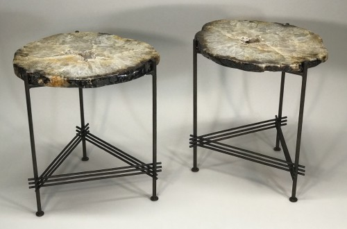 pair of really good agate side tables with textured iron stretcher bases with brown bronze bases