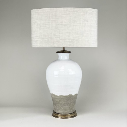 Single Medium White Hand Made Ceramic Lamps On Antique Brass Bases