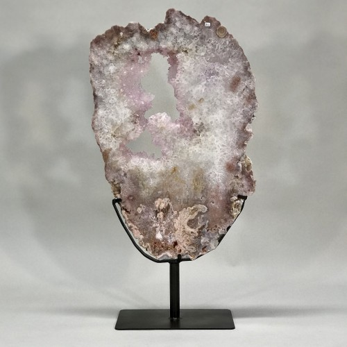 extra large and special rosey quartz slice on iron stand
