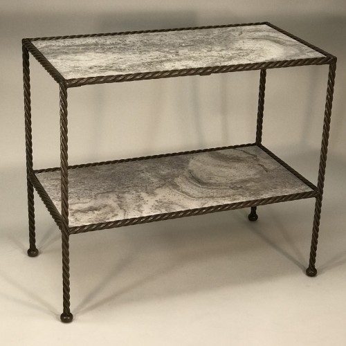 Rope side tables with marble top