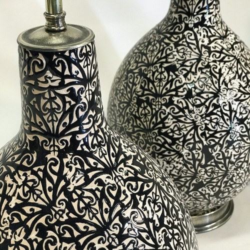 pair of medium black ceramic lamps with balloon shape intricate glaze pattern