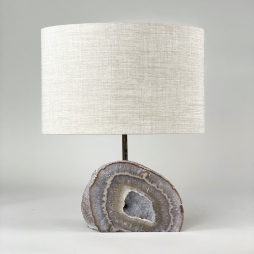 Single Medium Agate Lamp With Antique Brass Base