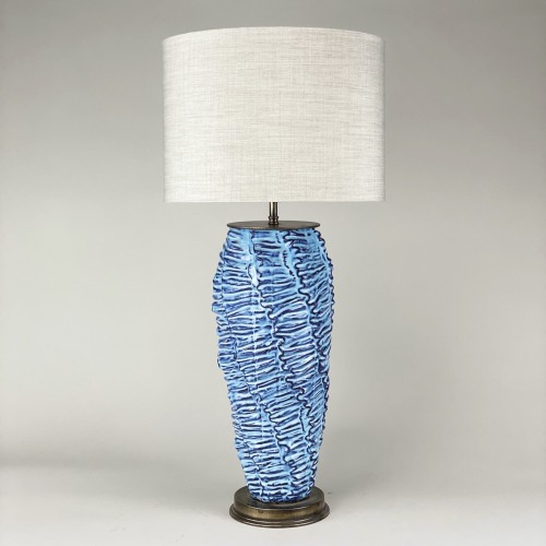 Single Large Blue 'wave' Lamp With Antique Brass Base