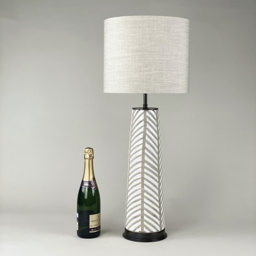 single medium 'fearne' textured white ceramic lamp with brown bronze base