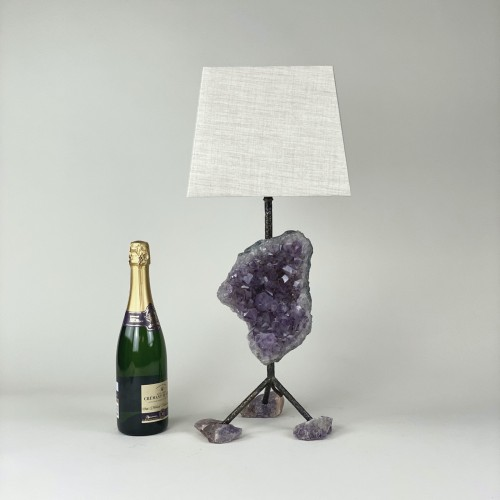 Single Small Amethyst Lamp With Brown Bronze