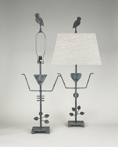 pair of medium figure metal lamps