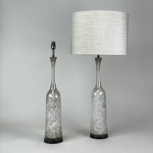 pair of large cream/brown glass lamps on brown bronze bases