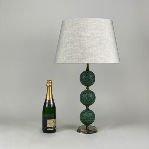 Pair Of Green With Blue/red Detail Majapahit Glass Bead Lamps With Antique Brass Bases
