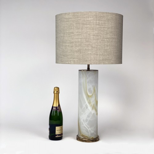 Pair of Large Glass 'Onyx Effect' Lamps on Antique Brass Bases