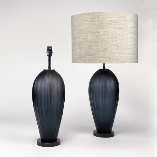 Pair of large grey cut glass lamps on brown bronze bases