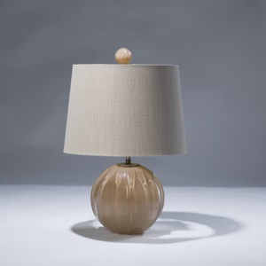 single small brown glass ball lamp with matching finial (T3023)