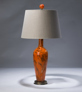 single large orange and clear glass lamp on distressed brass base (T3027)