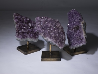 Piece Of Amethyst Geode On Distressed Brass Stand (T3257)