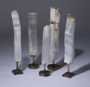 Selenite Chunks On Distressed Brass Stands (T3262)