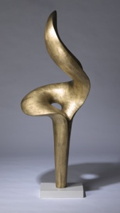 massive gilt wrought iron 'lily' sculpture on marble stand (T3269)