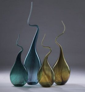 blue brown yellow 'squiggle vase' (T3336)