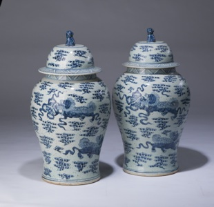 pair of medium blue & white vases with lidded tops (T3357)