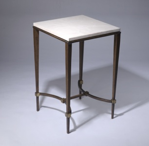 wrought iron 'tapered leg' side table with marble top in brown bronze, gold leaf highlight finish (T3381)