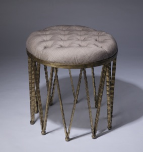 medium round wrought iron 'crown' stool in distressed gold leaf finish with natural linen upholstery (T3385)