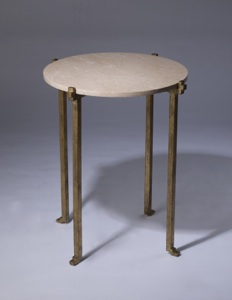 wrought iron 'katie' side table with marble top in distressed gold leaf finish (T3388)