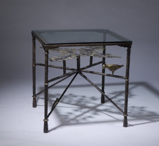 Wrought iron 'tree of life' side table in dark brown bronze, gold leaf highlight finish with glass top (T3400)