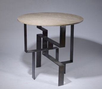 wrought iron 'geometric' centre table in dark brown bronze finish with marble top (T3402)