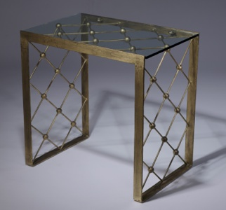 Wrought iron net side  table in distressed gold leaf finish with glass top (T3408)