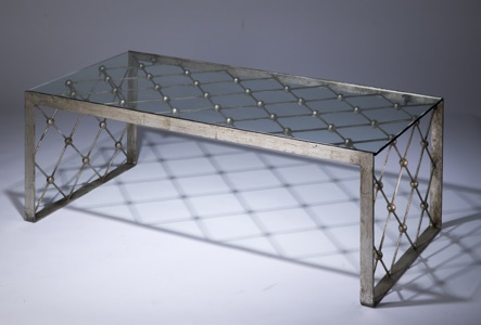 Wrought iron net coffee table in distressed silver leaf finish with glass top (T3413)
