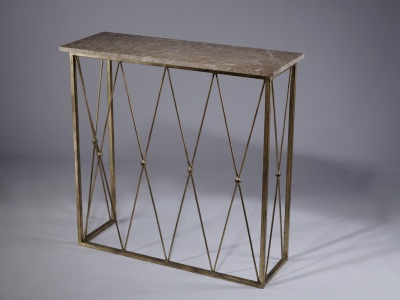 Wrought Iron 'diamond' console with 20mm stone/marble top (T3442)