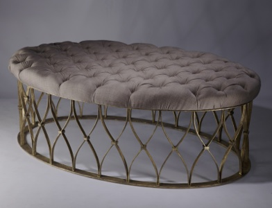 wrought iron oval 'natalia' ottoman in distressed gold leaf finish with natural linen upholstery (T3447)