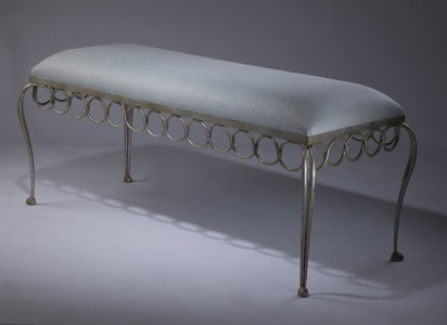 'twist' upholstered stool in distressed silver leaf finish (T3456)