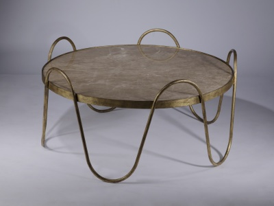 wrought iron 'drum' coffee table in distressed gold leaf finish with marble top (T3466)