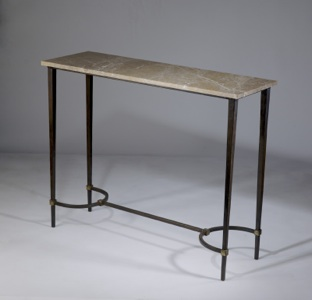 wrought iron 'tapered leg' side table with marble top in brown bronze, gold leaf highlight finish (T3468)