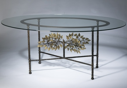Wrought iron ' tree of life' dining table in brown bronze, distressed gold leaf highlight finish with glass top (T3478)