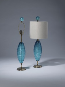 pair of small sky blue swirl glass lamps on distressed brass bases with matching finials (T3508)