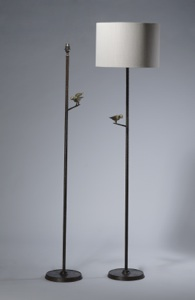 Wrought iron floor lamp with single bird in brown bronze, gold highlight finish (T3525)